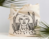 Tote bag by Depeapa, Sale, Afro woman Tote bag, organic cotton tote bag, depeapa, illustration - GIRL I -