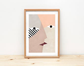 Love, abstract faces giclee print, Illustration - KISS I -