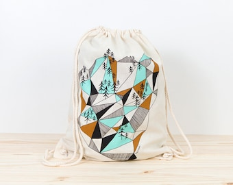 Backpack Tote, geometric mountain, depeapa, screen printed canvas backpack tote, organic canvas backpack, geometric canvas backpack