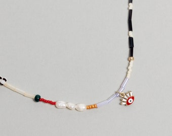 Colorful Pearl Beaded necklace with enamel eye charm. Mixed Beaded Choker, Pearl Necklace - No03 - RECREO collection