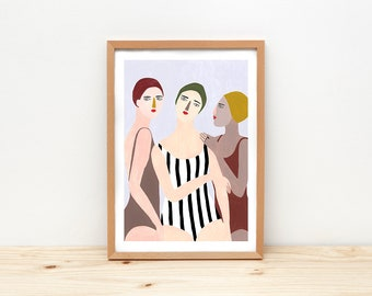 swimmers women giclee print, illustration - SWIMMERS -