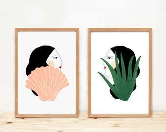 GIRLS, Cactus and Shell -Illustrations by Depeapa - A4 prints, illustrations, wall art, home decor, póster, girls, cactus and shell