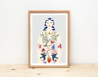 women power giclee art print, women illustration  - MY BODY is my HOME -