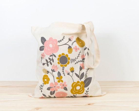 flowers tote bag screen printed canvas tote bag organic etsy