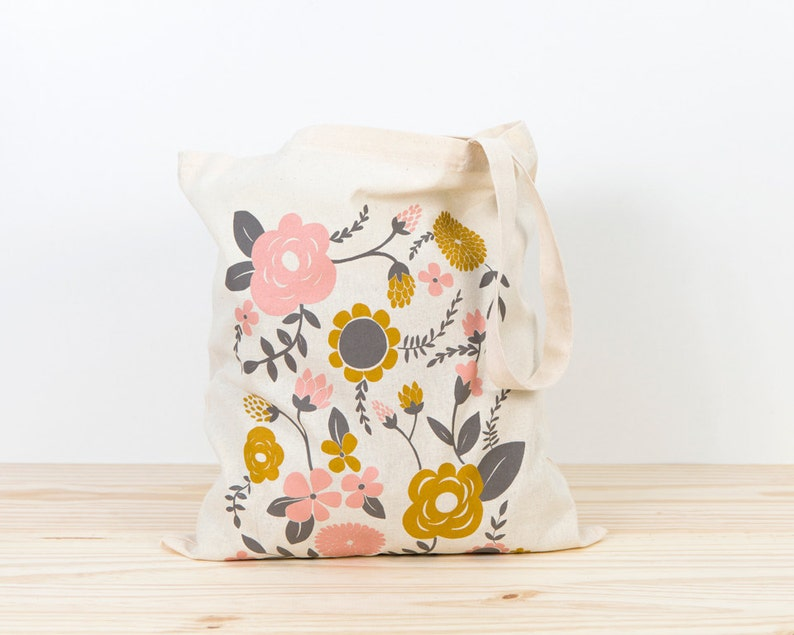 66308308e4 Flowers Tote bag screen printed canvas Tote bag organic