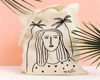 GIRL III  - Tote bag by Depeapa, Girl and Palms Tote bag, organic canvas tote, depeapa, screen printed tote bag, illustration