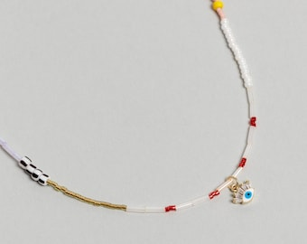 Colorful Pearl Beaded necklace with enamel eye charm. Mixed Beaded Choker, Pearl Necklace - No01 - RECREO collection