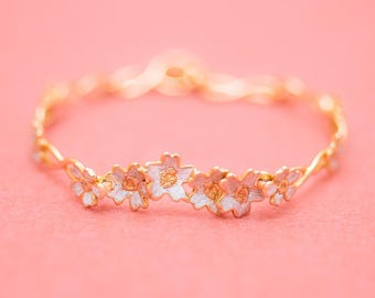 Japanese jewelry - Sakura bracelet - Cherry blossom flowers - Silver gold combination - Free shipping