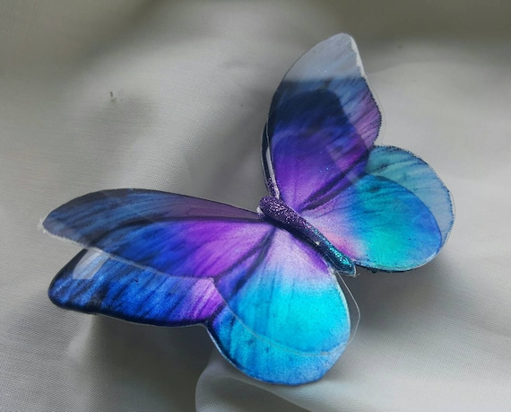 Blue iridescent resin holographic butterfly embellishment for art craft,wedding bouquet,sizes 5cm to 20cm,Custom sizes available