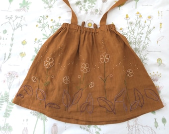 Beautiful Hand Embroidered Flower Meadow Linen Dungarees Dress for Girls Ages 7-8