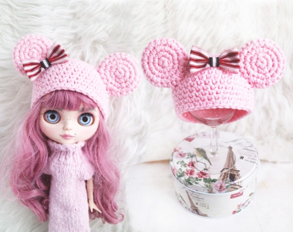 Free Shipping Mickey Mouse Hat Pink Mickey Mouse Ooak Blythe Etsy