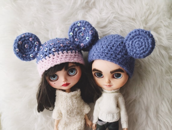 Free Shipping Mickey Mouse Hat Blue Mickey Mouse Ooak Blythe Etsy