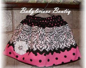 Girls Skirt Infant toddler flower Custom..Polka Dot Damask..sizes 0-12 months, 1/2, 3/4, 5/6, 7/8, 9/10 Bigger Sizes Available