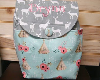 Diaper bag, backpack..Gray Deer N teepee..with name, choose a font. Customize yours now.