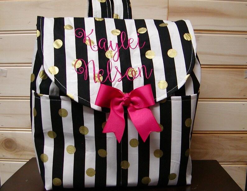 7d3ec33d406 BackPack Diaper bag handbag book bag..Black white stripe   Etsy