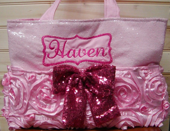Diaper bag . see fashionfairytales handbag Match your carseat canopy book..Floral N Hot Pink Sequin..Add Name and end pockets