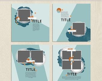 Split Digital Scrapbooking Template Pack - 12 x 12