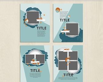 Split Digital Scrapbooking Template Pack - 8.5 x 11