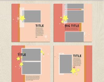 Starry Digital Scrapbooking Template Pack - 12 x 12