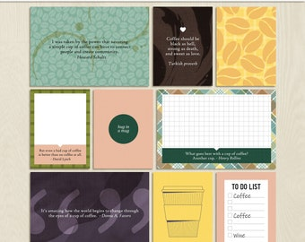 Coffee Obsessed 3x4 and 4x6 Pocket Cards JPEGs - including printable versions