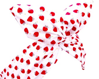 White with Red Strawberry Print Wire Headband Hair Wrap - Pin up - Kawaii