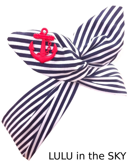 Black with silver vintage anchor pin up sailor nautical hair bow