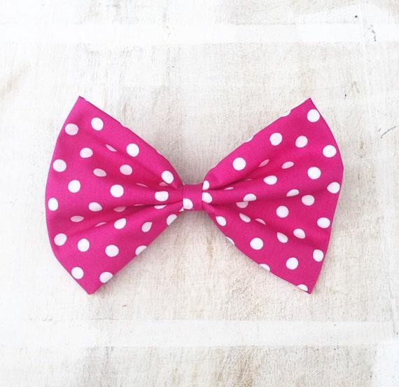 Pink White Polka Dot Hair Clips Barrettes Rockabilly Pin Up Retro Girly Cute