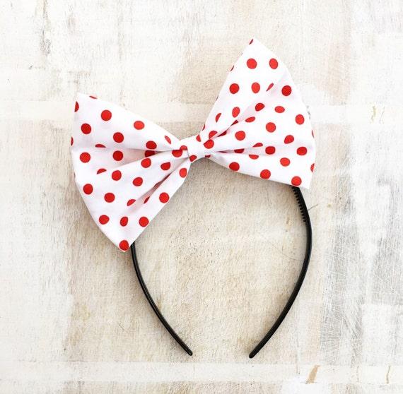 White oversized bow headband Rockabilly Pin up girl