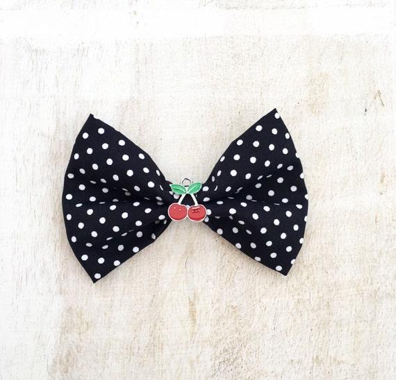 Black /& White Polka Dot ROCKABILLY Pin Up Hair Bow clip