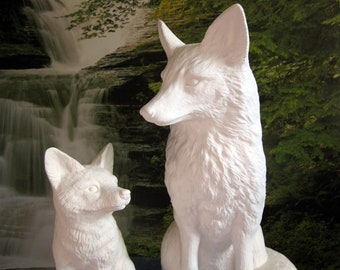 Huge Beautiful,Realist Fox, Wildlife Fox, Garden Ornament, Garden Statue,Yard  Ornament,SELL For The Adult Only,ceramic Bisque,Ready To Paint