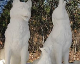 Elegant Huge Realistic, Wolf Howling, Wolf, Garden Statue, Yard Ornament, Sitting  Wolf, American Wildlife,Ready To Paint, Ceramic Bisque, U Paint