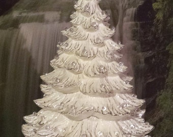 huge 23 24large ceramic christmas tree music box vintage christmas tree table top treeceramic bisqueready to paint ceramic u paint - White Ceramic Christmas Tree