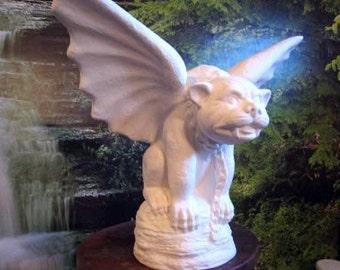 "Huge 17"", Gargoyle, Gothic statue,Mid-evil gargoyle,Garden Statue,Castle Gargoyle,Renaissance Gargoyle,Ceramic bisque,Ready to paint,u-paint"