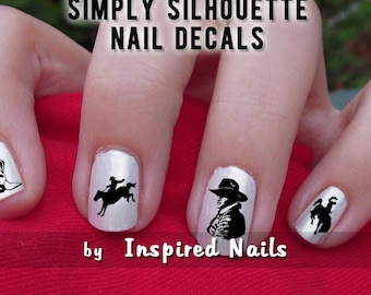 Western Cowboy Nail Decals Black and Clear Simply Silhouette by Inspired Nails