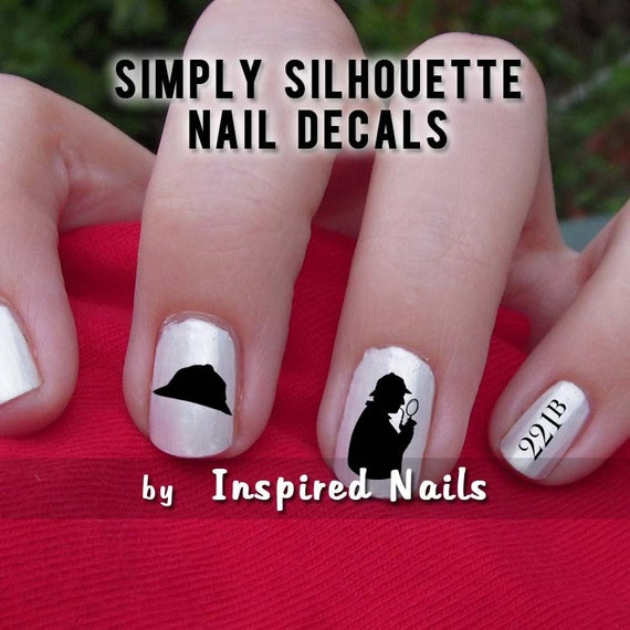 Sherlock Holmes Nail Decals Black and Clear Simply Silhouette | Etsy