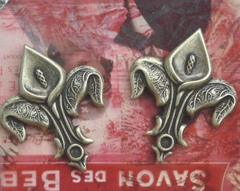 TWO Calla Lilies, Fleur de Lis Brass Stampings, Brass Ox, Brass Stampings, crafting and jewelry making, Scrapbooking, Supplies