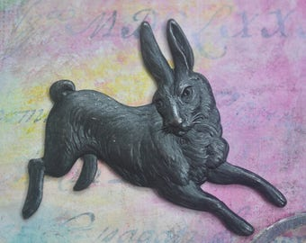 Wild Hare Brass Stamping, Black Satin Finish, Brass Rabbit, Brass Stampings Made in the USA