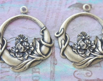 Brass Neo Victorian Earring Hoops, Brass Ox, Brass Stampings, Jewelry Making, Jewelry Supplies Made in the USA
