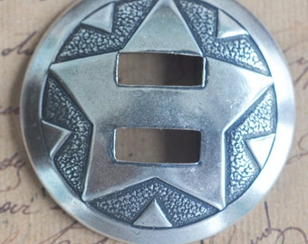 Southwestern Star Concho, Brass Stampings, Sterling Silver Finish, Silver Conchos, Southwestern Jewelry Supplies Made in the USA