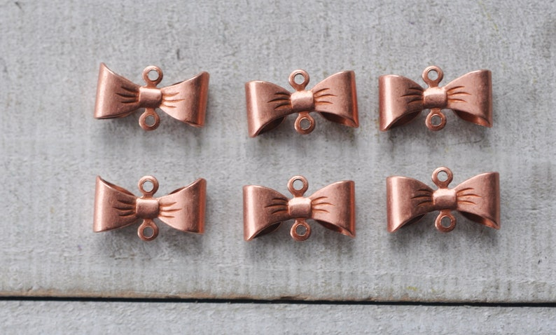 SIX Rose Gold Brass Bow Connectors