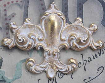 Fleur de Lis Brass Stamping with Swirls, Angel Patina, Medieval Jewelry, Brass Stampings Made in the USA, White and Gold Patina