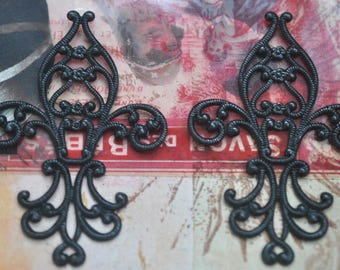 TWO Fleur de Lis Brass Stampings, Black Satin Finish, Filigrees and Brass Stampings made in the USA