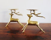 Brass deer candle holders, vintage brass candle holders, brass deer, Solid Brass, vintage brass candle