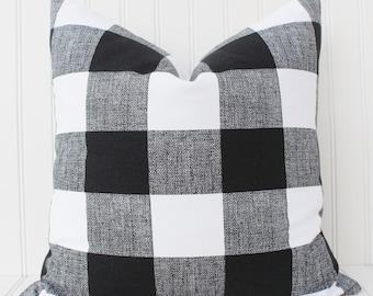 Black and White Buffalo Check Pillow Cover-Throw Pillow-Decorative Pillow-Cushion Cover - Black and White Checkered Plaid Buffalo Check