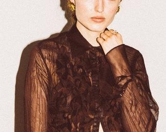 sheer fringe blouse