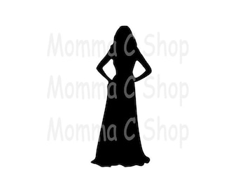 Woman in Evening Gown One Color Instant SVG Bundle Digital Download File Cuttable
