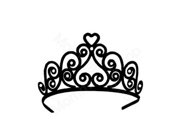 Tiara Crown Instant SVG Digital Download One Color File Cuttable **