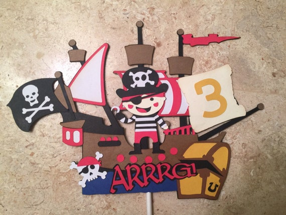 Admirable Boy Pirate Cake Topper Pirates Theme Party Pirates Of The Etsy Funny Birthday Cards Online Aeocydamsfinfo