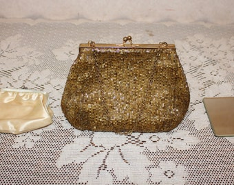 ce763b0b0dc8 Vintage Magid Beaded Purse with Change Purse and Mirror