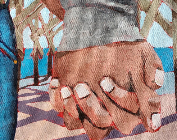 Holding Hands Painting for girlfriend or boyfriend, free shipping, 8x10 inch romantic gift idea, clasped, couple love at the beach, pier art